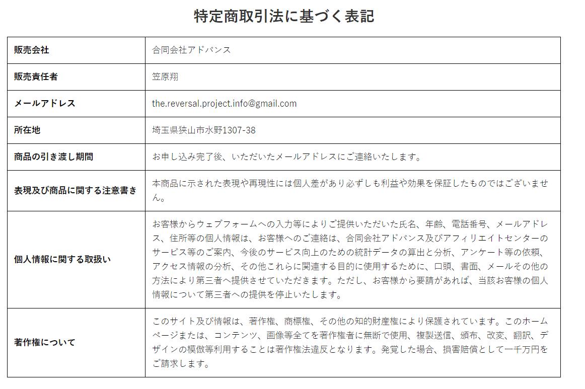 ザ・リバーサル・プロジェクト 特定商取引法に基づく表記